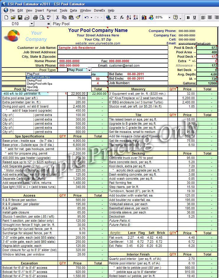 Estimator spreadsheet for Swimming pool design xls
